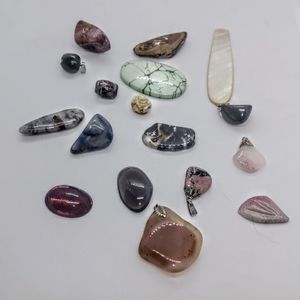 Jewelry - 10 Natural Stones & 5 Natural Stone Pendants Lot